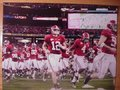 Picture: Alabama Crimson Tide 2009 SEC Champions image 2. We are the exclusive copyright holders of this image. Greg McElroy leads the team into battle original 12 X 18 panoramic print.