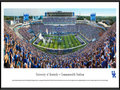 Picture: Just out from the 2015 home and season opener against Louisiana-Lafayette. Kentucky Wildcats football Commonwealth Stadium 13.5 X 40 panoramic print professionally framed to 13.75 X 40.25. This panorama, taken by James Blakeway, captures the excitement of the University of Kentucky football team kicking off their season opener and a new era of the program in The New Commonwealth Stadium. The $126 million dollar reinvention of the stadium includes brand new concessions, enhanced and widened concourses throughout the complex, and an exterior facelift featuring Kentucky limestone. The new student section and multi-purpose recruiting center in the east end zone are at the heart of the stadium upgrade.