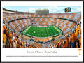Picture: Just out from the 2015 season! Tennessee Volunteers Neyland Stadium 13.5 X 40 panoramic poster professionally framed to 13.75 X 40.25. This panorama, taken by Robert Pettit, spotlights the excitement of the season�s home opener between the Tennessee Volunteers and the Oklahoma Sooners at one of college football's most iconic landmarks, Neyland Stadium. A Tennessee trademark, the �checkerboard� seen depicted in the crowd is only the second ever in Neyland Stadium history, and is no easy feat when considering that at capacity, 102,455 fans are in attendance for game day festivities. The standout orange and white colors have represented the Volunteers since their inaugural season in 1891, when they were selected by team member, Charles Moore. The colors were those of the common American daisy which grew in profusion on The Hill.