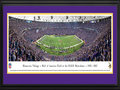 Picture: This 13.5 X 40 panorama has been professionally double matted in team colors and framed to 18 X 44. It captures the final touchdown on Mall of America Field at the Hubert H. Humphrey Metrodome. Sunday, December 29, 2013 marked the end of an era and a fitting farewell to the stadium, as the Minnesota Vikings beat the Detroit Lions 14-13 in the final game of the season. The Metrodome was the ninth-oldest stadium in the NFL and will be replaced in the same location by a new Vikings Stadium in 2016. In the interim, the Vikings will play at the University of Minnesota during construction. The Minnesota Vikings called the Metrodome home from 1982-2013, with an all-time record in the facility of 168-92. From the NFL Stadiums collection.