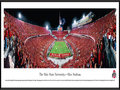 Picture: Ohio State Buckeyes Ohio Stadium 13.5 X 40 panoramic print professionally framed to 13.75 X 40.25. This panorama of Ohio Stadium, spotlights The Ohio State Buckeyes scoring one of four game-winning touchdowns against their Big 10 Conference opponent, the Wisconsin Badgers. The Buckeyes first big game of the season turned Ohio Stadium, also known as The Horseshoe, or The Shoe, into the most-scarlet place on earth. Almost everyone in the crowd of 105,826, the third-largest in Ohio State history, was donning the Buckeyes� shade of red. The Ohio State University football team played their first game on May 3, 1890. Ohio Stadium is listed in the National Registry of Historic Places and has been home to Buckeye football since 1922.