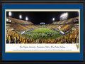 Picture: 2014 West Virginia Mountaineers Mountaineer Field at Milan Puskar Stadium panoramic poster professionally double matted in team colors and framed. This panorama was taken by James Blakeway. Since the facility opened in 1980, more than 11 million people have watched games at Mountaineer Field. Following a day of pregame festivities, more than 60,000 energized fans jam-packed the stadium, striping it in Old Gold and Blue based on their seat locations, while a national television audience tuned in to see WVU in its third season in the Big 12.