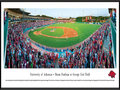 "Picture: Arkansas Razorbacks Baum Stadium at George Cole Field panoramic poster professionally framed. This panorama, taken by James Blakeway, captures the University of Arkansas baseball fans ""Calling the Hogs"" at Baum Stadium at George Cole Field. Considered a gold standard for college baseball facilities, Baum Stadium has undergone several renovations since opening in 1996. These renovations include an increase in the number of luxury suites to 34, while expanding the stadium to accommodate more than 11,000 Razorback fans. Arkansas began its 88th season of baseball in 2011 and continues to be recognized as one of the nation's elite programs. In testament to the program's popularity, in 2007, Arkansas became the first team in NCAA history to average more than 8,000 tickets sold per game."