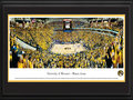 Picture: Missouri Tigers Mizzou Arena panoramic print professionally double matted in team colors and framed. This panorama captures the thrilling victory of the final point free throw between the Mizzou Tigers and Kansas on Feb. 4, 2012. The final score was Missouri 74, Kansas 71. This historic event filled Mizzou Arena to capacity, with 15,061 enthusiastic fans. The University of Missouri was established in 1839 and was the first public institution of higher education west of the Mississippi River. This panorama was taken by James Blakeway.
