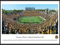 Picture: Missouri Tigers Memorial Stadium/Faurot Field panoramic print professionally framed. This panorama, taken by James Blakeway, spotlights a blaze of gold as the University of Missouri Tigers crushed their second consecutive ranked opponent for the first time since 1976. Playing on home turf, the Tigers defeated the Florida Gators with a final score of 36-17. The storied history of Memorial Stadium/Faurot Field, also known as �The Zou,� dates back to its opening in 1926. Today, fans enjoy the many changes to the stadium that have occurred, including an expansion to the north concourse area and moving the hill closer to the field. In the process, the Rock M was safely stored and reconstructed to maintain the important historical landmark that Tiger fans have grown to love.