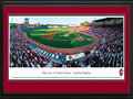 Picture: South Carolina Gamecocks Carolina Stadium panoramic print professionally double matted in team colors and framed. This panorama, taken by James Blakeway, captures the University of South Carolina baseball team playing for a win on their home field at Carolina Stadium. Unveiled in 2009 and located adjacent to the Congaree River, Carolina Stadium is considered one of the top college baseball stadiums in the United States, with a seating capacity for over 9,000 fans. The Gamecocks are one of the best teams in college baseball with an impressive record including regular NCAA Tournament participation and College World Series (CWS) appearances. In 2010, the Gamecocks became the first team to win six straight games in a World Series and the third team to win the CWS after losing its first game of the series.