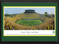 Picture: Oregon Ducks Autzen Stadium 13.5 X 40 panoramic poster professionally double matted in team colors and framed to 18 X 44. This panorama, taken by James Blakeway, provides testament to the best non-conference matchup of the year, as the No. 3 ranked Pac-12 Oregon Ducks played host to the No. 7 ranked Big Ten Michigan State Spartans at Autzen Stadium. The stage was set at this nationally televised event, when these two football programs took to the gridiron for an unforgettable matchup. At the closing whistle, with a roaring ovation from fans within college football�s loudest stadium, the Ducks had won the day
