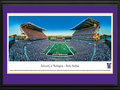 Picture: Washington Huskies Husky Stadium 13.5 X 40 panoramic poster professionally double matted in team colors and framed to 18 X 44. This panorama of the newly renovated Husky Stadium, taken by Christopher Gjevre, spotlights the season-opening matchup between the University of Washington Huskies and the Boise State Broncos. Fans attending this sold-out game and the Return to Montlake, cheered the Huskies to a 38-6 victory over the Broncos while enjoying many of the $250 million stadium updates. The much anticipated renovations include premium and patio suites, permanent seating, reconstruction of the lower bowl and south side stands, optimized sightlines, a new parking garage and a huge purple and gold �W� facing the water on the east side. Husky Stadium continues its 92 year tradition as the greatest setting in college football.