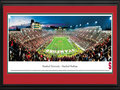 Picture: Stanford Cardinal Stanford Stadium 13.5 X 40 panoramic poster professionally double matted in team colors and framed to 18 X 44. This panorama, taken by Christopher Gjevre, portrays the excitement and atmosphere at a game between Stanford and Notre Dame, two schools with a deep college football tradition. Stanford, known as the Cardinal for the color of its deep red uniforms, was founded in 1891 and began playing football only a year later, with the first Big Game against rival Cal-Berkeley. In the years to follow, Stanford became known for its excellence in academics, as one of the world's premier universities, and for its heritage in athletics as the Home of Champions. Stanford University is located on 8,180 acres in Stanford, California, and is a private research university.