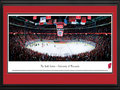 Picture: Wisconsin Badgers Kohl Center 13 X 40 panoramic print professionally double matted in team colors and framed to 18 X 44. This panorama of the University of Wisconsin's Kohl Center was photographed by Christopher Gjevre. The Kohl Center opened in 1998 in Madison, Wisconsin and is named in honor of United States Senator Herb Kohl, who donated $25 million to the project. The facility is home to the University of Wisconsin hockey and basketball teams, for both the men and women's programs. It's the third largest indoor venue in the state, with a hockey game capacity of more than 15,000. Modeled after the University of Wisconsin Field House, it uses a cantilever design that gives great sightlines and brings spectators closer to the sporting event.