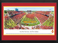 Picture: Iowa State Cyclones Jack Trice Stadium 13 X 40 panoramic print professionally double matted in team colors and framed to 18 X 44. This panorama of Jack Trice Stadium, taken by Christopher Gjevre, captures the jubilation after the in-state battle between the Iowa State Cyclones and the Iowa Hawkeyes for the Cy-Hawk Trophy. At the end of the afternoon, the Cyclones emerged victorious after triple overtime for a final score of 44-41. The 56,085 fans who packed Jack Trice Stadium set the second-highest attendance record in stadium history. Many of those fans rushed the field at the conclusion to share in the Cyclone victory. The Iowa State � Iowa Rivalry began on October 1, 1894, with Iowa State winning 16-8. Today it is still one of the most highly anticipated football games in the state of Iowa.