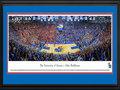 "Picture: Kansas Jayhawks Allen Fieldhouse 13 X 40 panoramic print professionally double matted in team colors and framed to 18 X 44. This panorama of The University of Kansas - Allen Fieldhouse, photographed by Christopher Gjevre, features the Kansas basketball team vs. conference opponent, the Oklahoma State Cowboys. Named in honor of the late Dr. F.C. �Phog� Allen, the Jayhawks� head coach for 39 years, Allen Fieldhouse is considered one of the more storied college basketball arenas in America. Allen Fieldhouse was dedicated in 1955 and has a seating capacity of 16,300. The court is named after James Naismith, the inventor of basketball and the first basketball coach at The University of Kansas. Ironically, Naismith coached ""Phog"" Allen, his eventual successor at Kansas and the namesake of Allen Fieldhouse."