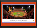 Picture: Clemson Tigers Frank Howard Field at Memorial Stadium 13 X 40 panoramic print professionally double matted in team colors and framed to 18 X 44. This panorama of Frank Howard Field at Memorial Stadium, taken by James Blakeway, features a highly anticipated opening-night showdown between the Clemson University Tigers and the University of Georgia Bulldogs. It has been over a decade since this rousing rivalry has played out between these two teams and, in a show of school pride and unity, Clemson designated the game as �Solid Orange� and Tiger football fans complied, resulting in a sea of orange in the stadium. Established in 1896, Clemson University is one of the founding members of the Atlantic Coast Conference. Academically, Clemson�s retention and graduation rates rank among the highest in the country for public universities.