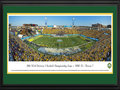 Picture: North Dakota State Bison Toyota Stadium 13 X 40 panoramic print professionally double matted in team colors and framed to 18 X 44. This panorama, taken by Christopher Gjevre, spotlights the North Dakota State Bison playing their third consecutive tournament title game against the newcomer Towson Tigers. Nothing was going to satisfy the Bison but perfection, and perfect they were. The Bison whipped Towson 35-7 before a rocking 19,802 fan base at Toyota Stadium to complete a perfect season and become the second Football Championship Subdivision (FCS) program to win a third straight national championship. Overall, the Bison were 43-2 the last three seasons, and their senior class was 52-7 with four straight trips to at least the FCS quarterfinals.
