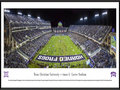 Picture: 2014 TCU Horned Frogs Amon G. Carter Stadium 13.5 X 40 panoramic print professionally framed to 13.75 X 40.25 of the team's win over Kansas State. This panorama, taken by Christopher Gjevre, spotlights the TCU Horned Frogs playing at Amon G. Carter Stadium in a colossal showdown against Big 12 opponent, the K-State Wildcats, at a game with both teams ranked in the Top 10. Tradition runs deep in the Big 12 conference, and TCU is no exception where traditions start with the Horned Frog. Some say the horned frog was chosen, due to the small, spiny lizards prevalence on the football practice field, yet others say it�s tough feisty spirit matched the tough frontier spirit shown by TCU itself. Regardless of the reason, the TCU student athletes take pride in being called Horned Frogs.