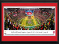 Picture: Ohio State Buckeyes 13.5 X 40 National Championship Stadium Panoramic Poster professionally double matted in team colors and framed to 18 X 44 and ready to hang on your wall as is! An awesome gift to that huge Buckeye fan. This panorama, taken by Christopher Gjevre, spotlights the celebration of a new era and the biggest college football game of the year, the 1st annual College Football Championship Game, between the two top ranked teams of the 2014 season � the Ohio State Buckeyes and the Oregon Ducks. No stranger to adversity, the Buckeyes completed a remarkable in-season turnaround (14-1) and began the first major college football playoff as an underdog, the fourth and final seed, yet, became the truest champion big-time football has ever crowned. With this win, Ohio State captured the night, made history and claimed their eighth national title; soundly ending the year-long debate to determine the best team in the 2014 college football season.