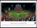 Picture: Just out from the 2015 season is a 13.5 X 40 panoramic poster professionally framed to 13.75 X 40.25 of the Arkansas State Red Wolves and Centennial Bank Stadium. This panorama features Arkansas State University football team playing their home opener and celebrating over 100 years of football at the recently renovated Centennial Bank Stadium. The stadium additions included a new and expanded press box, as a result of a surge of enthusiasm for the Red Wolves� football program. They achieved remarkable success from 2011-2014, which included three conference championships, four bowl games and two 10-win seasons. This four year period resulted in 35 wins for A-State. Centennial Bank Stadium is located on the campus of Arkansas State University in Jonesboro, Arkansas.
