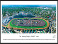 "Picture: Kentucky Derby at Churchill Downs panoramic poster professionally framed to 13.75 X 40.25. This aerial panoramic photograph of Churchill Downs was taken from a helicopter during the running of the Kentucky Derby. The Kentucky Derby has run continuously at Churchill Downs since the track's inaugural race meet on May 17, 1875. A new grandstand was completed in 1895, complimented by the Twin Spires atop the roof. The Twin Spires would become the symbol of Churchill Downs and the Kentucky Derby. A 7/8-mile turf track lies inside of a one-mile dirt track. The Kentucky Derby has been referred to as the ""greatest two minutes in sports"" and was first telecast nationally in 1952."