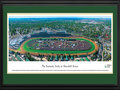 "Picture: Kentucky Derby at Churchill Downs 13.5 X 40 panoramic poster professionally double matted and framed to 18 X 44. This aerial panoramic photograph of Churchill Downs was taken from a helicopter during the running of the Kentucky Derby. The Kentucky Derby has run continuously at Churchill Downs since the track's inaugural race meet on May 17, 1875. A new grandstand was completed in 1895, complimented by the Twin Spires atop the roof. The Twin Spires would become the symbol of Churchill Downs and the Kentucky Derby. A 7/8-mile turf track lies inside of a one-mile dirt track. The Kentucky Derby has been referred to as the ""greatest two minutes in sports"" and was first telecast nationally in 1952."