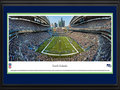 Picture: This 13.5 X 40 panorama has been professionally double matted in team colors and framed to 18 X 44. It underscores the on-field action of the Seattle Seahawks playing to their home crowd. In 1976, Seattle fans received their own professional football team. As the Seahawks strengthened their young franchise, their loud, sold out crowds became known as the 12th MAN®. In the 1980's, Seattle fans had such an impact on the success of the team that Seahawks' President Mike McCormack retired the number 12 on December 15, 1984. In 2005, the 12th MAN made a difference in helping the Seahawks win their first-ever NFC Championship and set a single-season attendance record. Today, before every home game kickoff, a flag is raised in honor of the 12th MAN. From the NFL Stadiums collection.