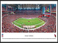 Picture: This panorama has been professionally framed to 13.75 X 40.25. It features the Arizona Cardinals playing at University of Phoenix Stadium. After playing 18 years at Sun Devil Stadium, the Arizona Cardinals finally had a stadium to call their own when University of Phoenix Stadium opened with much fanfare in 2006. With its exterior skin representing the indigenous barrel cactus, it was the first stadium built in North America with both a retractable roof and a retractable field. The field weighs 18.9 million pounds and is moved in only for game days. The Cardinals are the oldest existing professional football club in the United States and are a charter member of the National Football League. From the NFL Stadiums collection.