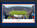 Picture: This 13.5 X 40 panorama of the Chicago Bears playing at Soldier Field has been professionally double matted in team colors and framed to 18 X 44. The Chicago Bears, originally known as the Decatur Staleys, were founded by owner and head coach George Halas in 1920. The Staleys moved to Chicago in 1921 and became the Chicago Staleys. In 1922, the franchise was renamed the Chicago Bears. The Bears played their final game at Wrigley Field in 1970, before moving to Soldier Field. The original stadium was demolished following the 2001 season, and the Bears made their debut at the rebuilt Soldier Field in 2003, which retained the historic colonnades of the original structure. From the NFL Stadiums collection.