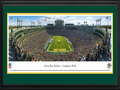 Picture: This 13.5 X 40 panorama of the Green Bay Packers NFL football team at play has been professionally double matted in team colors and framed to 18 X 44. It spotlights the action at one of the most recognized and envied locales in all of sports, Lambeau Field. Dedicated as City Stadium in 1957 and renamed Lambeau Field in 1965, it is the longest continuously occupied stadium in the NFL. The Green Bay Packers were founded in 1919 and played their first two years as an independent team before joining the NFL in 1921. The �Packers,� the oldest team name still in use in the NFL, comes from the company that first supplied the team with uniform money, the Indian Packing Company. The Green Bay Packers have won more championships than any other team in the National Football League. From the NFL Stadiums collection.