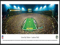Picture: This panorama has been professionally framed to 13.75 X 40.25. It highlights the Green Bay Packers playing a victorious Sunday night game at the historic Lambeau Field. The Packers home field was dedicated as City Stadium on September 29, 1957, and renamed Lambeau Field in 1965 in tribute to Curly Lambeau. In 2007, the Packers celebrated the 50th anniversary of the opening of Lambeau Field. The Green Bay Packers have won more championships than any other team in the National Football League. The Super Bowl trophy, awarded each year to the winning team of the the NFL's championship game, was renamed in 1970 in memory of Vince Lombardi, legendary head coach of the Green Bay Packers. From the NFL Stadiums collection.