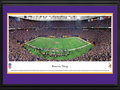 Picture: This 13.5 X 40 panorama has been professionally double matted in team colors and framed to 18 X 44. It captures the Minnesota Vikings playing to more than 63,000 football fans at Mall of America Field in the Hubert H. Humphrey Metrodome. The Vikings' 34�3 divisional playoff victory over the Cowboys set a team record for the fewest points allowed in a playoff game and advanced the Vikings to the NFC Championship game. They were the NFC North Champions in both 2008 and 2009, and were undefeated in the Metrodome during the 2009 season. The Vikings first played at the Metropolitan Stadium from 1961 � 1981 and moved to the Hubert H. Humphrey Metrodome in 1982, where they play to one of the noisiest crowds in professional football. From the NFL Stadiums collection.