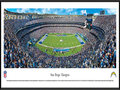 Picture: This panoramic has been professionally framed to 13.75 X 40.25. It shows the National Football League's San Diego Chargers move the ball right to left at Qualcomm Stadium. The Chargers, founded in 1960, are one of the eight original American Football League (AFL) teams. Led by the team's original head coach, Sid Gillman, in the early 60's; Head Coach Don Coryell in the late 70's and 80's, and Head Coach Bobby Ross and AFC Champion Chargers of 1994, the Chargers have played the kind of quick-strike football mirrored by their lightning bolt insignia. From the NFL Stadiums collection.