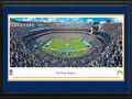 Picture: This 13.5 X 40 panoramic has been professionally double matted in team colors and framed to 18 X 44. It shows the National Football League's San Diego Chargers move the ball right to left at Qualcomm Stadium. The Chargers, founded in 1960, are one of the eight original American Football League (AFL) teams. Led by the team's original head coach, Sid Gillman, in the early 60's; Head Coach Don Coryell in the late 70's and 80's, and Head Coach Bobby Ross and AFC Champion Chargers of 1994, the Chargers have played the kind of quick-strike football mirrored by their lightning bolt insignia. From the NFL Stadiums collection.