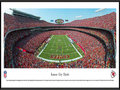Picture: This panorama has been professionally framed to 13.75 X 40.25. It spotlights the Kansas City Chiefs playing their home opener at Arrowhead Stadium. The Chiefs successfully held off the Dallas Cowboys in the final quarter of the game to preserve a 17-16 victory. The game began in historic fashion with the Chiefs donned in all-red outfits, for the first time in franchise history. The capacity crowd roared when the team ran onto the field in their new red uniforms, a departure from traditional white pants and to signify the start of a new era, with a new coach and a new quarterback. In 1969, the Chiefs became the only club in AFL history to win three AFL Championships. From the NFL Stadiums collection.