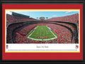 Picture: This 13.5 X 40 panorama has been professionally double matted in team colors and framed to 18 X 44. It spotlights the Kansas City Chiefs playing their home opener at Arrowhead Stadium. The Chiefs successfully held off the Dallas Cowboys in the final quarter of the game to preserve a 17-16 victory. The game began in historic fashion with the Chiefs donned in all-red outfits, for the first time in franchise history. The capacity crowd roared when the team ran onto the field in their new red uniforms, a departure from traditional white pants and to signify the start of a new era, with a new coach and a new quarterback. In 1969, the Chiefs became the only club in AFL history to win three AFL Championships. From the NFL Stadiums collection.
