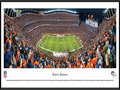 Picture: This panoramic of the Denver Broncos playing at Mile High Stadium has been professionally framed to 13.75 X 40.25. The Denver Broncos began as one of eight American Football League (AFL) charter franchises in 1960 and entered the NFL with the merger of the two leagues in 1970. With one of the best records in pro football over the past 50 seasons, the Denver Broncos have been one of the most consistent winners in professional sports. The Broncos won their first AFL game ever played, and they captured their first Super Bowl win in the 1997 season � the first of back-to-back Super Bowl Championships. The Broncos� success on the field is more than matched by a spectacular fan base. Denver has sold out every home game since the beginning of the 1970 season, marking the second-longest active streak in the NFL. From the NFL Stadiums collection.