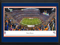 Picture: This 13.5 X 40 panoramic of the Denver Broncos playing at Mile High Stadium has been professionally double matted in team colors and framed to 18 X 44. The Denver Broncos began as one of eight American Football League (AFL) charter franchises in 1960 and entered the NFL with the merger of the two leagues in 1970. With one of the best records in pro football over the past 50 seasons, the Denver Broncos have been one of the most consistent winners in professional sports. The Broncos won their first AFL game ever played, and they captured their first Super Bowl win in the 1997 season � the first of back-to-back Super Bowl Championships. The Broncos� success on the field is more than matched by a spectacular fan base. Denver has sold out every home game since the beginning of the 1970 season, marking the second-longest active streak in the NFL. From the NFL Stadiums collection.