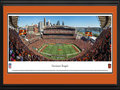 Picture: This 13.5 X 40 panorama has been professionally double matted in team colors and framed to 18 X 44. It captures the Cincinnati Bengals as they host the Seattle Seahawks at Paul Brown Stadium, located on the north bank of the Ohio River. While members of the modern era American Football League, the Bengals played at Nippert Stadium on the campus of the University of Cincinnati from 1968-69. When the AFL merged with the NFL in 1970, the team moved into a new venue called Riverfront Stadium (later renamed Cinergy Field), which also was situated on Cincinnati�s downtown riverfront. They played there for 30 seasons from 1970-99. Paul Brown Stadium, which opened in 2000, is named after Bengals founder and Pro Football Hall of Famer Paul Brown. From the NFL Stadiums collection.