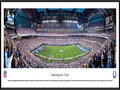 Picture: This panorama of Lucas Oil Stadium has been professionally framed to 13.75 X 40.25. It brings to focus the on-field action of the Indianapolis Colts. The club relocated to Indianapolis in 1984 and played in the RCA Dome before moving to the new Lucas Oil Stadium in 2008. Lucas Oil Stadium seats 63,000 football fans and has a unique retractable roof that can be opened in approximately nine minutes. The Colts were the first NFL franchise to begin consecutive seasons with 9-0 records and from 2008-09 set a league record with 23 regular season victories. From 2000-09 they won 115 regular season games, the most by a club in any decade in NFL history. From the NFL Stadiums collection.