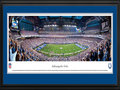 Picture: This 13.5 X 40 panorama of Lucas Oil Stadium has been professionally double matted in team colors and framed to 18 X 44. It brings to focus the on-field action of the Indianapolis Colts. The club relocated to Indianapolis in 1984 and played in the RCA Dome before moving to the new Lucas Oil Stadium in 2008. Lucas Oil Stadium seats 63,000 football fans and has a unique retractable roof that can be opened in approximately nine minutes. The Colts were the first NFL franchise to begin consecutive seasons with 9-0 records and from 2008-09 set a league record with 23 regular season victories. From 2000-09 they won 115 regular season games, the most by a club in any decade in NFL history. From the NFL Stadiums collection.
