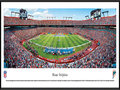 Picture: This panorama of the Miami Dolphins playing to a capacity crowd at Sun Life Stadium has been professionally framed to 13.75 X 40.25. Originally known as Joe Robbie Stadium, Sun Life Stadium is a multi-purpose stadium in the South Florida suburb of Miami Gardens and the first of its kind in the NFL to be constructed entirely with private funds. The Dolphins began play in the American Football League (AFL) as an expansion team in 1966 and are the oldest major-league professional sports franchise in the state of Florida. In 1972, the Dolphins completed the NFL's first perfect season, culminating a 17-0 record with a win in Super Bowl VII. They were also the first team to appear in three consecutive Super Bowls. From the NFL Stadiums collection.