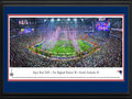 Picture: This 13.5 X 40 panorama has been professionally double matted in team colors and framed to 18 X 44. It spotlights a thrilling victory, as the New England Patriots defeat the Seattle Seahawks and win their fourth Super Bowl in franchise history. In the final 12 minutes of the game, the Patriots turned the tables and rallied from a 10-point deficit. To seal the deal, a stunning interception by an undrafted rookie preserved New England�s 28-24 lead. It was one of the most sensational fourth quarter rallies on record and, after four crazy quarters, the night went to New England, with the Patriots and fans basking in the glory of victory. From the NFL Stadiums collection.