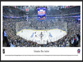 Picture: This panorama has been professionally framed to 13.75 X 40.25. It spotlights one of the NHL�s youngest teams, the Columbus Blue Jackets, playing against the Pittsburgh Penguins on their home ice in Columbus, Ohio. It all began in June 1997, when the National Hockey League awarded the city of Columbus an expansion franchise that would later be named the Blue Jackets. Just over three years later, on October 7, 2000, the club played its inaugural game before a sellout crowd of 18,136 fans. The name �Blue Jackets� was chosen to celebrate the patriotism, pride and rich Civil War history of the state of Ohio and the city of Columbus. The Blue Jackets play their home games at Nationwide Arena in downtown Columbus, which opened in 2000.