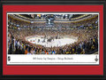 Picture: This 13.5 X 40 panorama spotlights the Chicago Blackhawks 3-2 victory over the Boston Bruins in Game 6 of the 2013 Stanley Cup Final on June 24, 2013 and has been professionally double matted in team colors and framed to 18 X 44. The organization's fifth championship is the culmination of their Presidents' Trophy-winning season, which opened with an National Hockey League record 24-game point streak and led to a Western Conference title and, ultimately, a 4-2 series win. The matchup was the first time the two storied teams have faced off in the postseason since the 1978 Quarterfinals. Chicago's win marks the tenth time an Original Six team has been crowned champion since 1979, the last time two Original Six teams faced off in a Final series.
