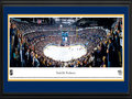 Picture: This 13.5 X 40 panorama of the Nashville Predators defeating the Detroit Red Wings in front of a sold out crowd at Bridgestone Arena has been professionally double matted in team colors and framed to 18 X 44. The Nashville Predators were established in 1997 and announced as the 27th team in the National Hockey League on May 4, 1998. They played their first game on October 10, 1998 against the Florida Panthers. The club has become synonymous with its hard-working teams and organizational philosophy of drafting and developing players from within. The team's logo pays tribute to fossils found in 1971, when a construction crew working on the First American Center in downtown Nashville came across the bones of a saber-toothed tiger.
