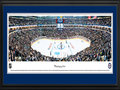 Picture: This 13.5 X 40 panorama has been professionally double matted in team colors and framed to 18 X 44. It captures the opening faceoff of the historic game between the Winnipeg Jets and Montreal Canadiens held on October 9, 2011, at MTS Centre. Since 1999 when this franchise came into the league it was called the Atlanta Thrashers. The inaugural Winnipeg game marked the regular season debut of the Winnipeg Jets in their second incarnation and their return to the NHL after a 15-year hiatus. On May 31, 2011, it was announced that True North Sports & Entertainment Limited would relocate the Atlanta Thrashers of the National Hockey League to Winnipeg for the 2011-12 season. Within minutes of making season tickets available to the public, the team reached its 13,000 seat target. At the 2011 NHL Entry Draft, True North Chairman, Mark Chipman, announced the team name would be called the Winnipeg Jets. The new logos pay homage to the Royal Canadian Air Force.