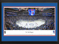 Picture: This 13.5 X 40 panorama of Madison Square Garden has been professionally double matted in the team colors of the New York Rangers and framed to 18 X 44. It captures the excitement of opening night hockey as the home team, the New York Rangers, take to the ice to kick-off their season. A National Hockey League historic Original Six Team, the Rangers began their illustrious career in 1926. The team�s trademark red, white and blue logo and uniform, originally designed to signify their American patriotism, has changed little since then. The club enjoys the proud achievement of having been the first team to ever win the Stanley Cup, as well as counting amongst their ranks some of the most respected players in league history.