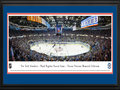 Picture: This 13.5 X 40 panorama has been professionally double matted in New York Islanders team colors and framed to 18 X 44. It commemorates the New York Islanders final regular season game at Nassau Veterans Memorial Coliseum. The Coliseum has been home to the New York Islanders since their debut into the National Hockey League in 1972. The arena was built at the cost of 32 million dollars and sits on sixty-three acres of Mitchel Field, formerly an Army/Air Force base located in the center of Nassau County. The building was dedicated to those who had made the supreme sacrifice, hence the name Nassau Veterans Memorial Coliseum. Beginning the 2015-16 season, the Islanders will play in their new home in Brooklyn.