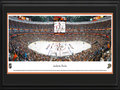 Picture: This 13.5 X 40 panorama has been professionally double matted in Anaheim Ducks team colors and framed to 18 X 44. It spotlights a thrilling night of ice hockey as the Anaheim Ducks face off against the Colorado Avalanche at Honda Center in Anaheim. Founded in 1993, the Ducks brought professional hockey to Orange County. With a commitment to achieving excellence and a dedication to thrilling fans, the Ducks have emerged as a perennial National Hockey League favorite, racking up several Playoff appearances and a Stanley Cup win in their relatively short career. The evening�s unveiling of a 3rd orange jersey is depicted here, being celebrated by both the team and their loyal fans.