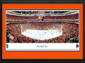 Picture: This 13.5 X 40 panorama features the Philadelphia Flyers playing on home ice at the Wells Fargo Center to a capacity crowd and has been professionally double matted in team colors and framed to 18 X 44. The Flyers were established in 1967 as part of the National Hockey League expansion and went on to complete their inaugural season by finishing atop all expansion teams in their division. In the 1973-74 season, the Flyers were the first team to win the Stanley Cup that were not part of the Original Six teams. The Flyers began the 1979-80 season by going undefeated for a North American professional sports record 35 straight games (25�0�10). The Flyers have played their home games on Broad Street since their inception, and are well know as the Broad Street Bullies.
