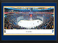 Picture: This 13.5 X 40 panorama of the St. Louis Blues playing to their fans in St. Louis, Missouri at the Scottrade Center has been professionally double matted in team colors and framed to 18 X 44. The Blues were one of the six teams added to the National Hockey League in the 1967 expansion and the last of the expansion teams to officially gain entry into the league. Taking inspiration from a famous song, the team was named the Blues and played their first game on October 11th. The Blues got off to a successful start, reaching the Stanley Cup® Final in each of its first three seasons. In addition, the Blues were a playoff presence every year from 1980 to 2004 � the third longest streak in North American. professional sports history.