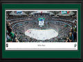 Picture: This 13.5 X 40 panorama of the Dallas Stars playing at the American Airlines Center has been professionally double matted in team colors and framed to 18 X 44. Originally established in the National Hockey League in 1967 as the Minnesota North Stars, the team relocated to Dallas in 1993 and played their first game on October 5, 1993. In their first season, the Stars made the playoffs by winning 42 games and recording 97 points. In 1999, the Stars won 51 games, finished with a league�s best 114 points, and went on to win the Stanley Cup Final. The Stars have also won numerous division titles, conference championships and Presidents� Trophies. Originally named the Minnesota North Stars, the team was renamed the Stars upon moving to Dallas, since Texas is known as the Lone Star State.